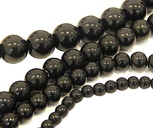 Perlas de cristal negras juego de 4 hebras 4 mm, 6 mm, 8 mm, 10 mm, joyas perlas redondas para manualidades, accesorios de joyería, hilo de perlas R374