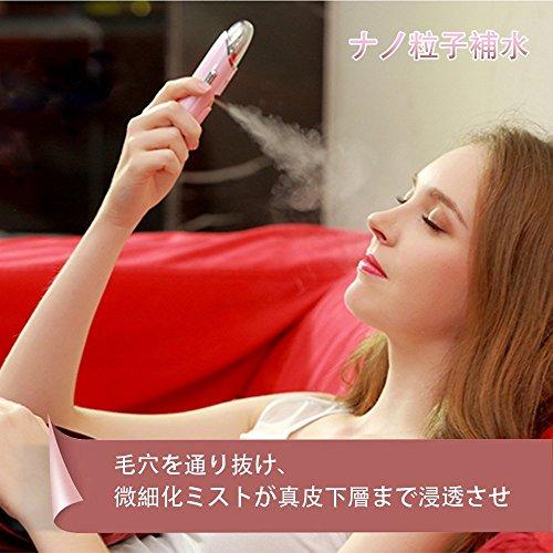 多機能ナノハンディミスト携帯式ミスト美顔器Liwerb噴霧式肌測定イオン導入振動マッサージナノ噴霧式補水美肌キープマイクロカレント抗老化しわの除去の装置充電式スマホ充電可能携帯便利(ピンク)