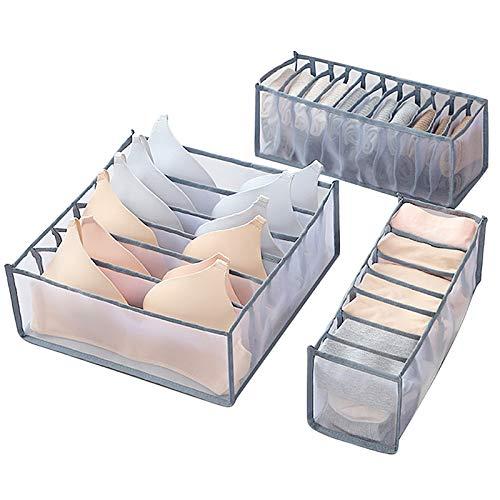UFLF 3 Stück Aufbewahrungsbox für Unterwäsche, Kleiderschrank Schubladen Ordnungssystem faltbaren Ordnungsboxen Organizer für BHS Socken Krawatten