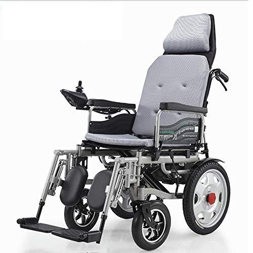 Reclinable plegable silla de ruedas eléctrica pedal de batería inteligente de litio en silla de ruedas 20A / 500W / 15 millas de viaje para la silla de ruedas eléctrica ancianos / discapacitados,Gris