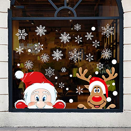 Alivonao 8 Sheets 236 Pcs Christmas Window Clings, Large Snowflake Reindeer Santa Claus Window Stickers, Christmas Window Descoration for Stores, Houses, Offices, Schools