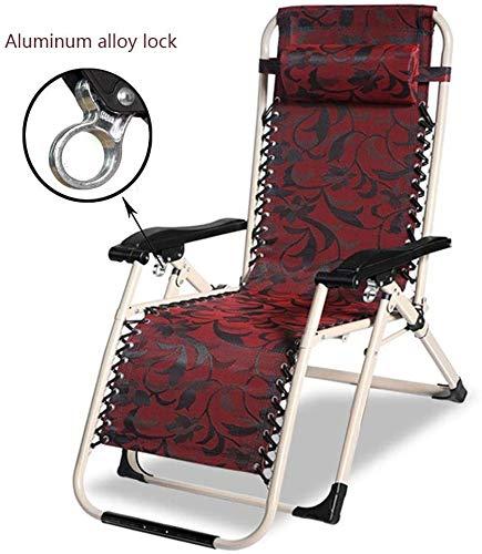 HWZQHJY Exteriores Ajustables sillas Plegables Calesa reclinable for Patio, Junto a la Piscina, la Cubierta (Color : Red)