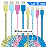iPhone Charger Lightning Cable 4Pack 4Color 4ft Power Cord for MFi Certified Fast Charger Compatible iPhone 11 Pro X XR XS MAX 8 Plus 7 6s 5s 5c Air iPad Mini iPod (Green Orange Blue Yellow)