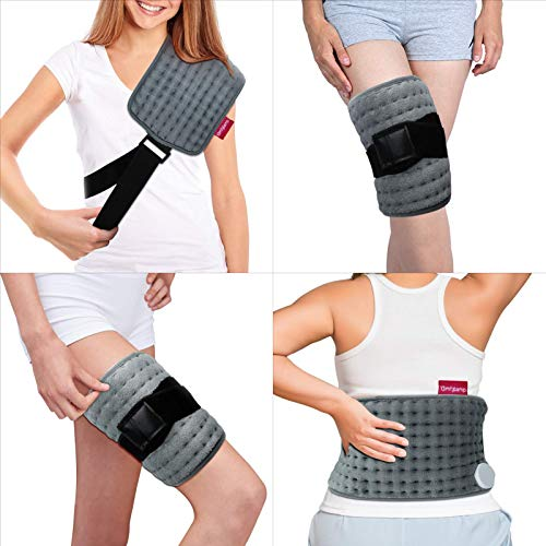"""Wrapping Heating Pad for Pain Relief, Comfytemp Electric Heating Pad with Strap (Up to 63""""), 9 Heat Settings, 5 Timers Auto-Off, Heated Wrap for Shoulders, Joints, Back, Leg, Waist, Lumbar - Washable"""