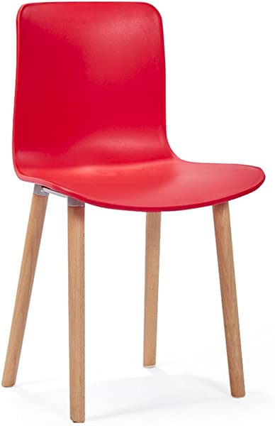 HCJSFD JCRNJSB Nordic Modern Minimalist Leisure Backrest Dining Chair Household Negotiate Fashion Adult Plastic Chair 40 38 83cm Removable Round Short Leg Sofa Stool Wooden Benc Color Red