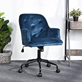 Home Office Chair Velvet Computer Chair Ergonomic Mid Back Task Desk Chair for Living Room Bedroom, Modern Swivel Adjustable Accent Chair Comfortable Executive Chair with Arms, Blue
