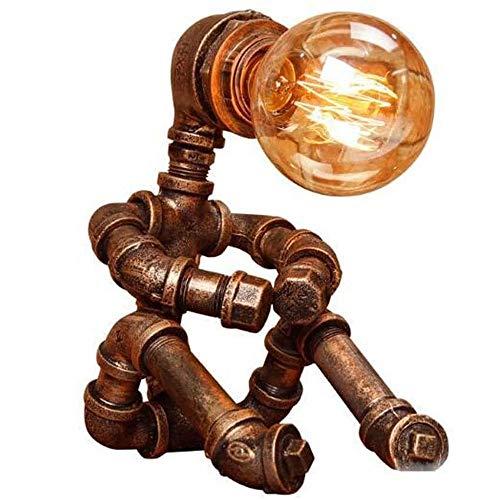 Liangsujiantd Flexo Led Escritorio, Lámpara de vector de bronce de la vendimia, Caño de agua lámpara de mesa, tubos industriales del hierro del arte retro de agua lámpara de mesa Vintage Loft creativo