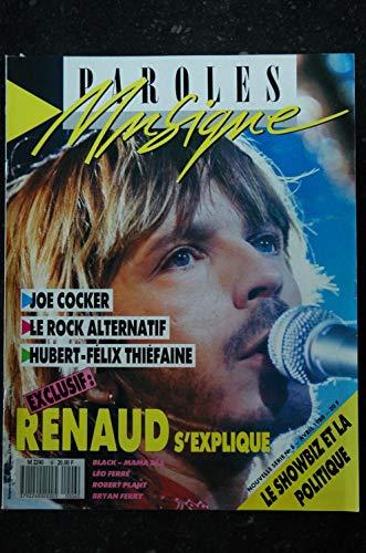 Paroles & Musique n° 6 * 1988 04 * RENAUD JOE COCKER MAMA BEA LEO FERRE Hubert-Felix THIEFAINE