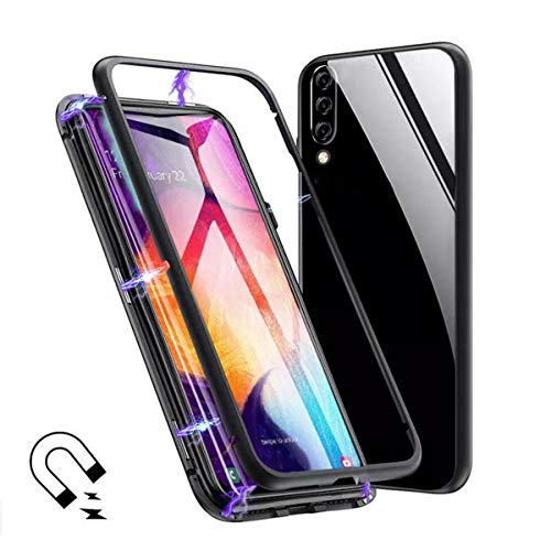 Huawei Y9 (2019) Case, Gift_Source Magnetic Adsorption Full Body Protective Case Clear Tempered Glass Full Screen Coverage Metal Bumper Frame Hard Cover for Huawei Y9 (2019)/Enjoy 9 Plus (6.5')[Black]