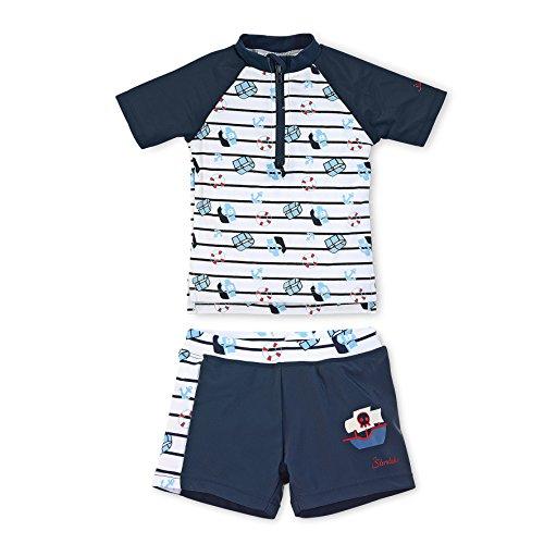 Sterntaler Kinder Jungen 2-teiliger Schwimmanzug, Kurzarm-Badeshirt und Bade-Shorts, UV-Schutz 50+, Alter: 3-4 Jahre, Größe: 98/104, Weiß/Dunkelblau