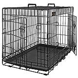 FEANDREA Jaula Metálica para Perros, Transportín Plegable para Mascotas, XXXL, 122 x 76 x 81 cm, Negro PD48H