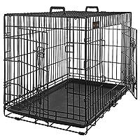 feandrea gabbie per cuccioli cane metallo gabbia trasportino animali cane 2 porte trasportino pieghevole nero xl 91 x 58 x 64 cm ppd36h