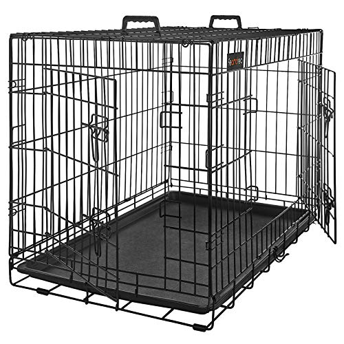 FEANDREA Jaula metálica para Perros Transportín Plegable para Mascotas Negro XL 91 x 58 x 64 cm PPD36H