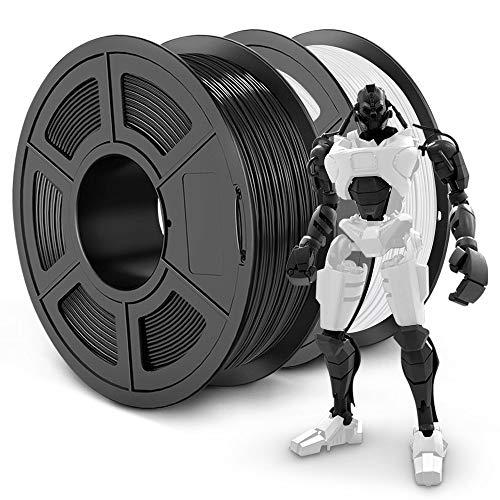 SUNLU PLA Plus 3D Filament 1.75mm for 3D Printer & 3D Pens, 2KG (4.4LBS) PLA+ Filament Tolerance Accuracy +/- 0.02 mm, Black+White