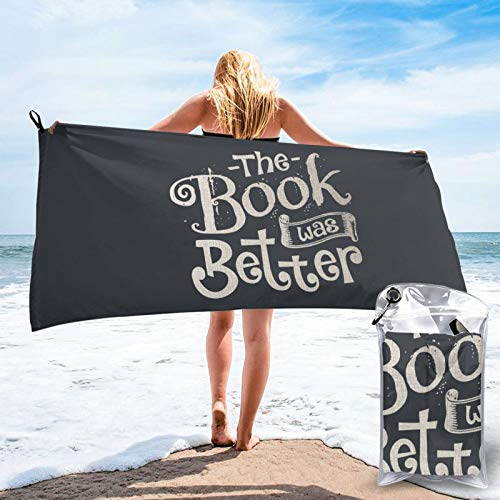Buildterial The Book was Better Outdoorsquick Dry Towel, Microfiber Super Absorbent Lightweight Towel for Swimmers, Bath Towels for Adults, Pool, Water Sports