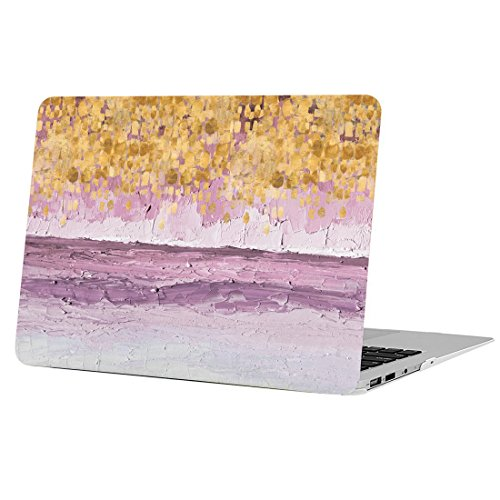 AUSMIX MacBook Pro Retina 13 Inch Case, [Herbaceous Plant Series] Folio Rubberized Anti-scratch Shell Unique ONLY for Mac Pro 13 with Retina Display (Models: A1425 & 1502) - Lavender Painting