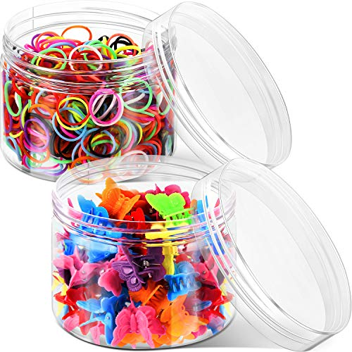 60 Pieces Mini Butterfly Hair Clips with 1000 Pieces Elastic Hair Rubber Bands Assorted Color Mini Hair Ties Hair Accessories for Women In Box