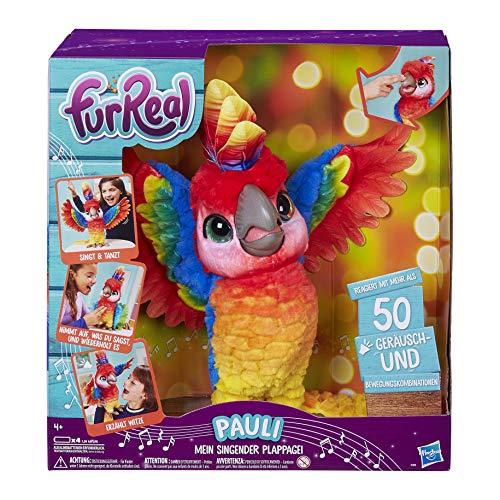 Hasbro FurReal Pauli – mein singender Plappagei, interaktives Plüschtier, sprechender Papagei, Kinder-Spielzeug, deutsche Sprachausgabe, Batterien enthalten, ab 4 Jahren