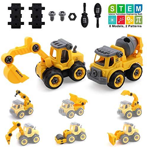 Amy&Benton Baufahrzeug Spielzeug ab 4 Jahren, Montage Spielzeug Geschenk Jungen, Kinderspielzeug für 3 Jährigen, 8 in 2 Lastwagen Autos, 96 TLG Auto LKW Kleinkind ab 5 6