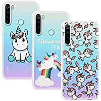 Young & Ming Funda para Xiaomi Redmi Note 8T, (3 Pack) Transparente TPU Silicona Carcasa Delgado Antigolpes Resistente, Unicornio