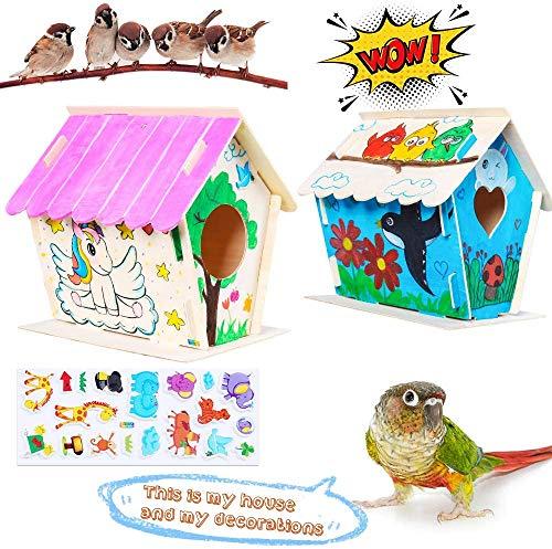 Zhihongfeng Casetta per Uccelli artistici e Artigianali per Bambini dai 4 agli 8 Anni, casetta per Uccelli in Legno Fai-da-Te per Bambini, Costruzione e Pittura di casetta per Uccelli