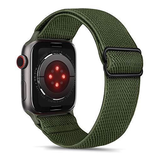 Tasikar Sport Cinturini Compatibile con Cinturino Apple Watch 44mm 42mm, Sport Solo Loop Regolabile, Cinturino Elastico di Ricambio per Apple Watch SE Serie 6/5/4/3/2/1-Army Green