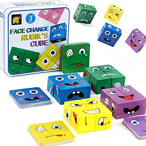 Cubes de Construction colorés en Bois, Jouets Éducatifs Jouets en Bois avec des Visages Changeants,des Jeux de Cube Géométrique, 16 pièces de Puzzle en Bois et 64 Cartes