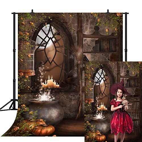 CSFOTO 10x8ft Halloween Backdrop Halloween Theme Photography Background Halloween Party Decor Grimace Pumpkin Autumn Fallen Leaves Child Baby Portrait Vinyl Wallpaper