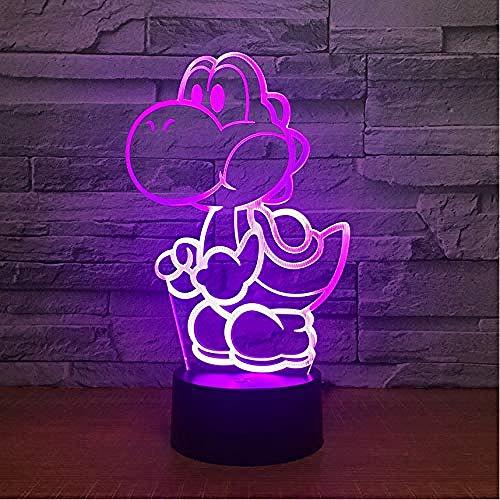 Yoshi Mario 3D LED USB lámpara de dibujos animados Figura Super Acrílico Novedad Navidad Iluminación Regalo RGB Touch Juguetes