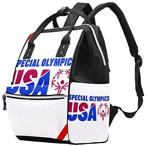 WJJSXKA Mochilas Bolsa de pañales Laptop Notebook Mochila de viaje Senderismo Daypack para Mujeres Hombres - Juegos Olímpicos Especiales de EE. UU.