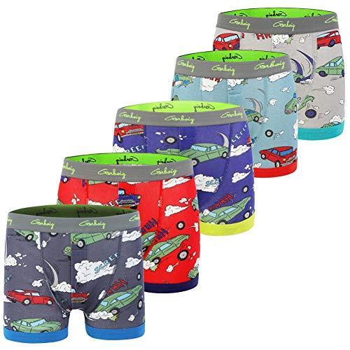 Gorboig Toddler Boys Boxers 4t Little Boy Soft Briefs Dinosaur Truck Rocket Toddler Kids Underwear 5 Pack (4/5Y,Car)