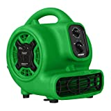XPOWER 848025023419 P-230AT Multi-Purpose Mini Mighty Air Mover, Utility Fan, Dryer, Blower with Power Outlets and Timer for Restoration, Cleaning, Home and Plumbing Use - 1/5 HP, 800 CFM, 3 Speeds, Green,Small