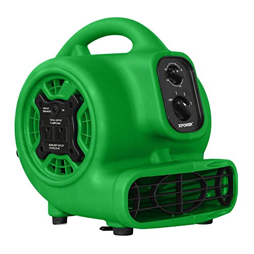 XPOWER 848025023419 P-230AT-Green Mini Mighty Air Mover Utility Blower Fan with Built-in Power Outlets, 925 CFM, Green