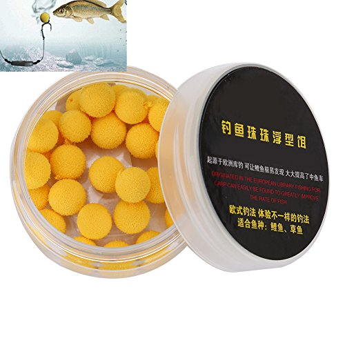 30Pcs/Box Smell Soft Fishing Lure Soft Boilies Fishing Bait Boilies Floating Smell Ball Beads Feeder Artificial Carp Baits Lure (Yellow 10mm)