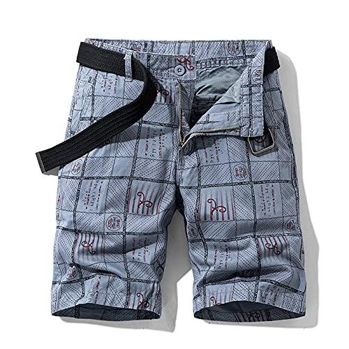 Katenyl Pantalones Cortos de Carga Rectos Estampados con Personalidad para Hombres, Tendencia de Moda, Ropa de Calle al Aire Libre, Pantalones Cortos Deportivos Informales básicos para Acampar 30
