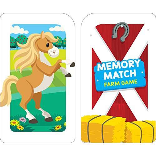51FKrwWYHBL - School Zone - Memory Match Farm Card Game - Ages 3+, Preschool to Kindergarten, Animals, Early Reading, Counting, Matching, Vocabulary, and More (School Zone Game Card Series)