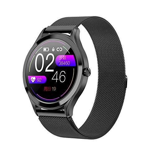 Smart Watch Ip67 - Juego de 2 relojes de pulsera (1,7 pulgadas, impermeables, multicolor, con monitor de frecuencia cardíaca, presión arterial y podómetro, para iOS y Android), color negro y gris