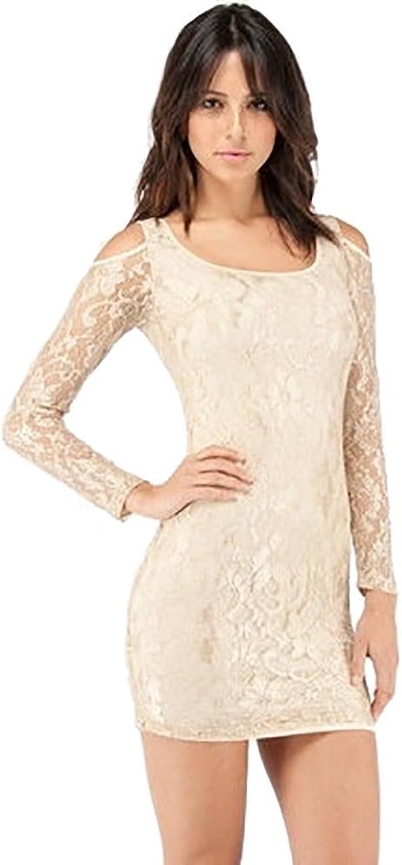 BLQ MKT Cold Open Shoulder Lace Mini Dress Ivory Large