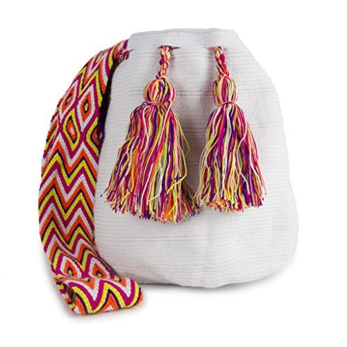 Bolso Wayuu Artesanal, Blanco, Original De Colombia