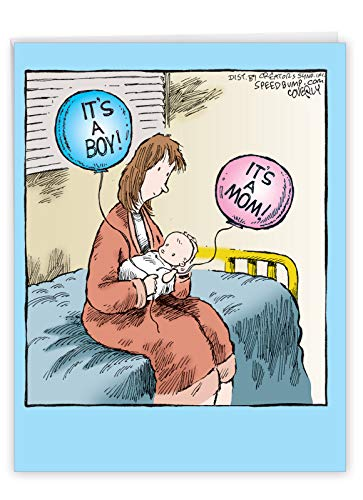 It's A Mom Boy - Funny Baby Boy Greeting Card with Envelope (Big 8.5 x 11 Inch) - Newborn Babies, Cartoon Congratulations Card for Mothers, Sister - Cute Baby Shower Gratitude Gift J4723BBG