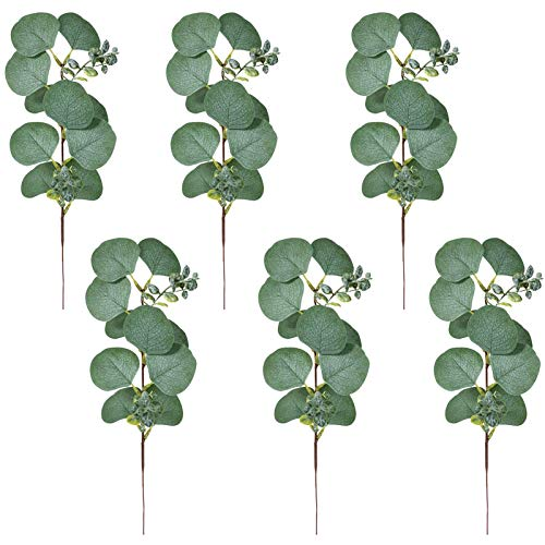 Xuanshengjia 6pcs Faux Eucalyptus Tallos, Ramas De Eucalipto De Seda Artificial, Plantas Falsas Vegetación para Jarrones De Campo, Guirnalda DIY DIY Inicio Pared De Interior Y Decoraciones De Fiesta
