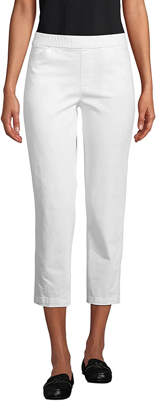 Lands' End Women's Mid Rise Pull On Chino Crop Pants