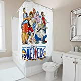 Firelife One Piece Anime Duschvorhang Anti-Schimmel Wasserdicht Waschbar Polyester Japanisch Shower Curtains mit Haken Weiß 200x200cm