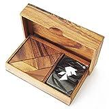 Tangram DOUBLE – A partir de 6 años para 1 a 2 jugadores, cabeza de madera maciza conforme a las normas CE. Difdificultad 2/6 marca francesa Le Délirant, un puzle con más de 64 figuras para realizar