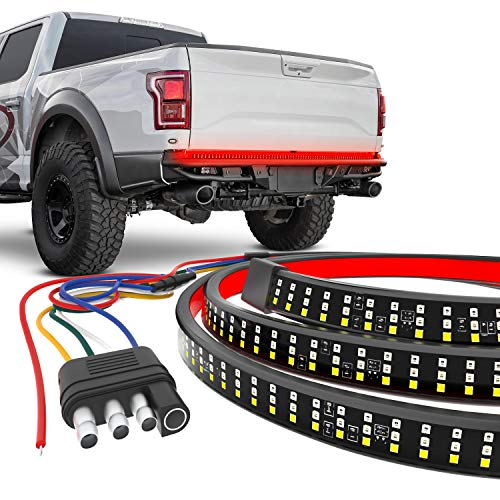 CK Formula LED Tailgate Light Bar 60 inch Triple Row for Trucks, 2935 SMD LED Chips, White Reverse Light/ Red Brake/ Running Light, Amber Sequential Turn Signal/ Double Flash, IP67 Waterproof Rating