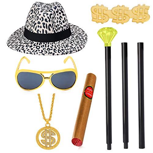Beefunny Pimp Daddy Kostümzubehör Set Hut Cane Brille Gefälschte Zigarre Dollar Ring Goldene Halskette Kette für 70er 80er Jahre Herren Pimpin Party (Weiß)