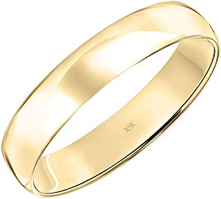 Women's 10K Rose, White or Yellow Gold 4MM Classic Plain Simple Wedding Band by Brilliant Expressions
