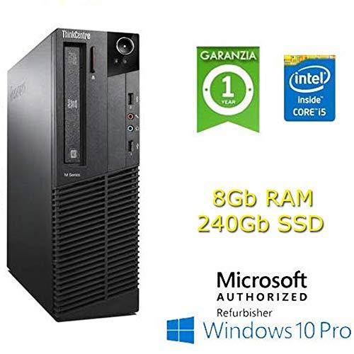 PC Lenovo Thinkcentre M92p Core i5-3470 3.2GHz 8Gb Ram 240Gb SSD Windows 10 Professional con Licenza Nuova (Ricondizionato)