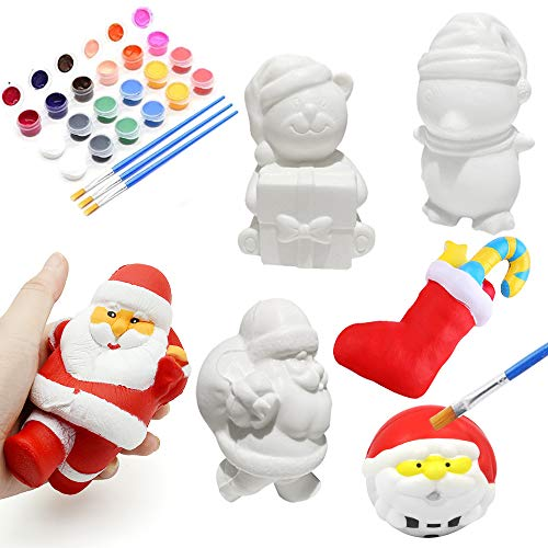 Xinge 5 Pack DIY Christmas Squishy Toys Includes Santa, Christmas Tree, Reindeer,Stocking & Snowman Kawaii Slow Rising Squishy Toys Party Favor for Kids (5pack-1)
