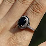 925 Sterling Silver Shiny Full Diamond Ring Oval Cut Black Onyx Marcasite White Cubic Zirconia Rings CZ Cocktail Rings Eternity Engagement Wedding Band Ring for Women TZ.36 (US Code 7)